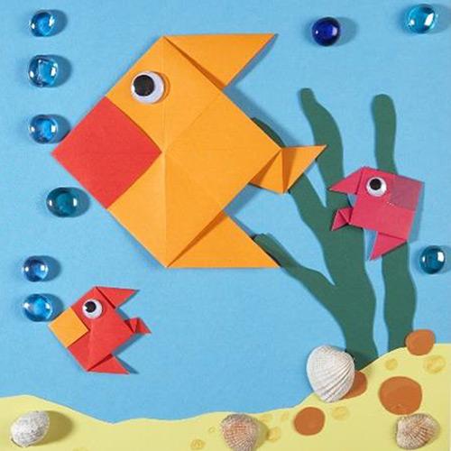 Bastelanleitung Bunte Falt-Fische