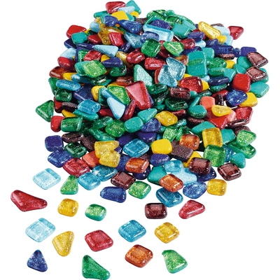 Softglassteine mit Glitzer