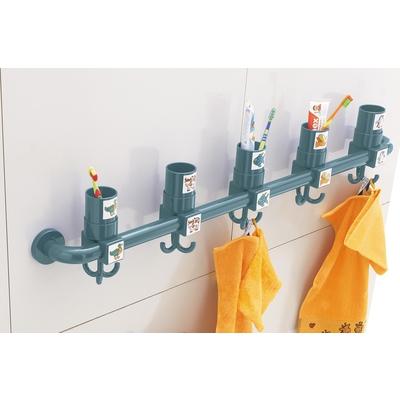 Extrem Hakenleiste mit 5 Zahnputzbecher-Halterungen   Waschraum   Wickeln MX98