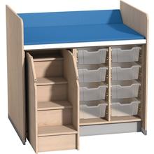 Wickelanlage für 8 Kunststoffboxen mit Aufstiegshilfe links