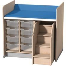 Wickelanlage für 8 Kunststoffboxen mit Aufstiegshilfe