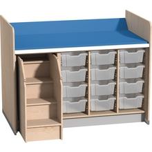 Wickelanlage für 12 Kunststoffboxen mit Auszieh-Aufstiegshilfe links